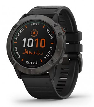 GARMIN fenix 6X Solar Pro Titanium Carbon Gray with Black Band Sporta pulkstenis
