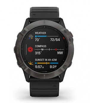 fenix 6X Sapphire Pro Carbon Grey with Black Band
