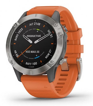 fenix 6 Sapphire Titanium with Ember Orange Band