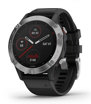 GARMIN fenix 6 Silver with Black Band Sporta pulkstenis